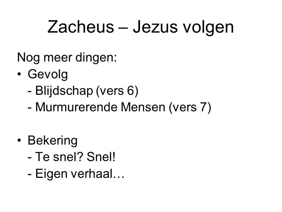 Zacheus – Jezus volgen Nog meer dingen: Gevolg - Blijdschap (vers 6)