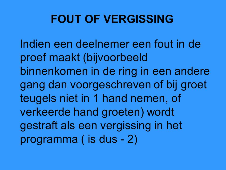 FOUT OF VERGISSING