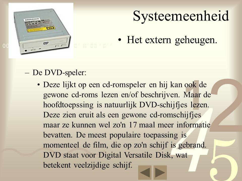 Systeemeenheid Het extern geheugen. De DVD-speler: