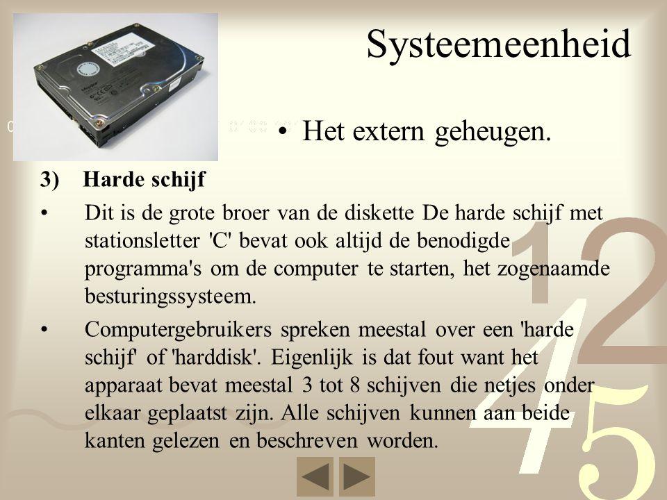 Systeemeenheid Het extern geheugen. 3) Harde schijf