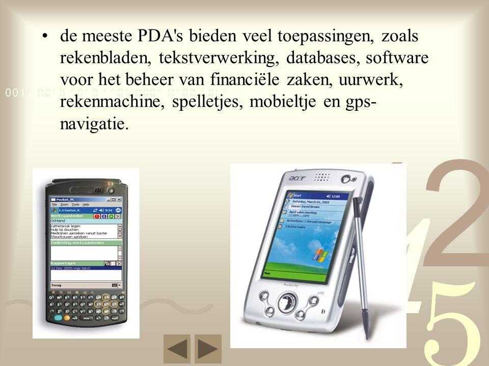 de meeste PDA s bieden veel toepassingen, zoals rekenbladen, tekstverwerking, databases, software voor het beheer van financiële zaken, uurwerk, rekenmachine, spelletjes, mobieltje en gps-navigatie.