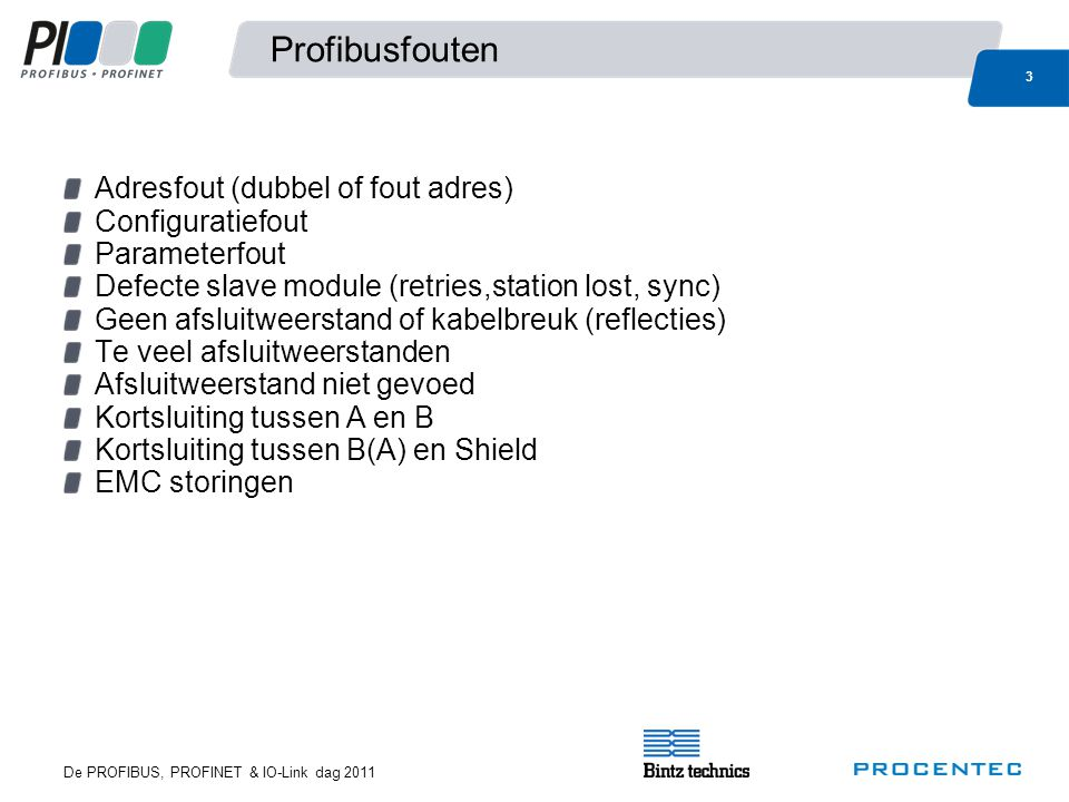 Profibusfouten Adresfout (dubbel of fout adres) Configuratiefout