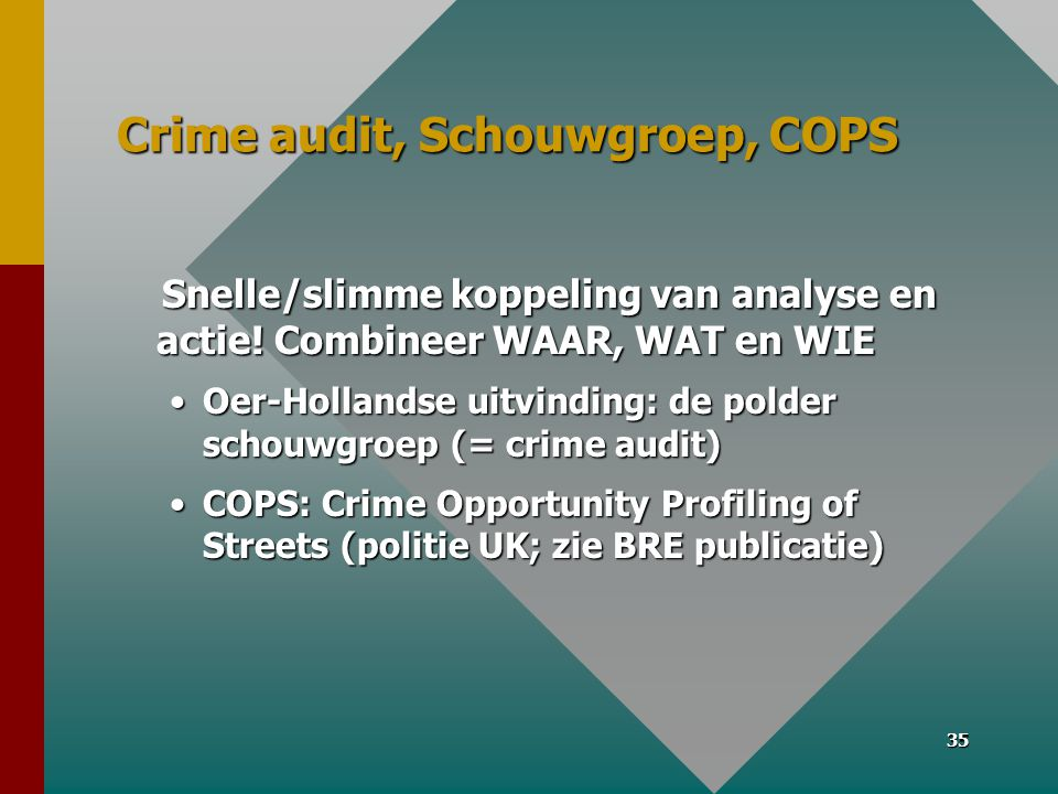 Crime audit, Schouwgroep, COPS