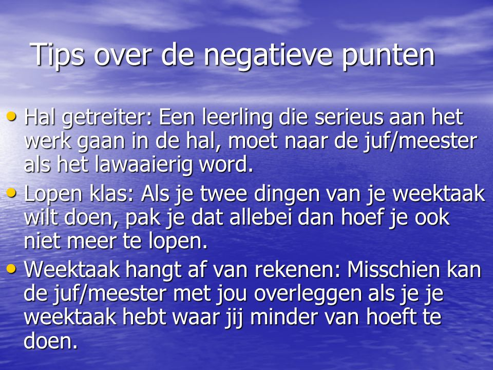 Tips over de negatieve punten