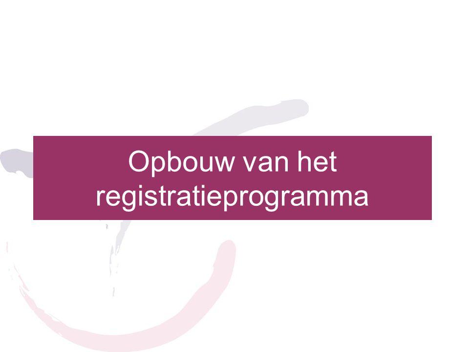 Opbouw van het registratieprogramma
