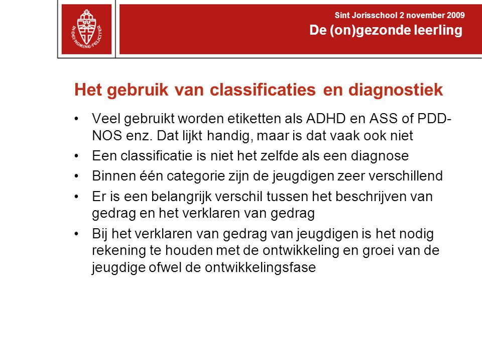 Het gebruik van classificaties en diagnostiek