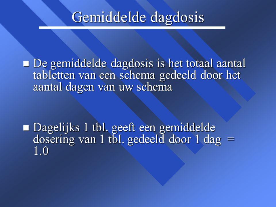 Gemiddelde dagdosis De gemiddelde dagdosis is het totaal aantal tabletten van een schema gedeeld door het aantal dagen van uw schema.