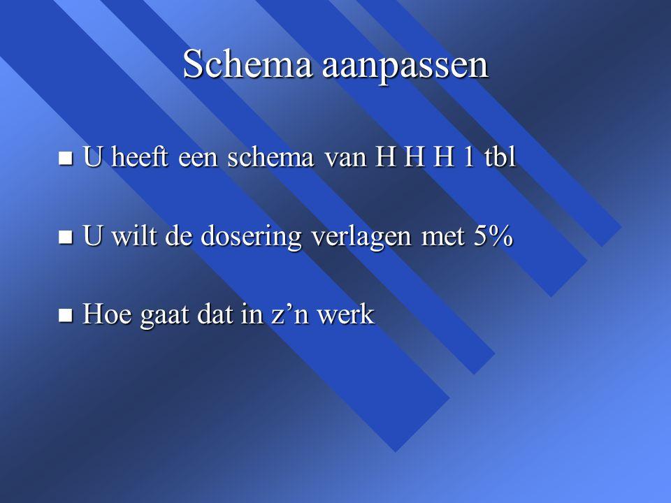 Schema aanpassen U heeft een schema van H H H 1 tbl