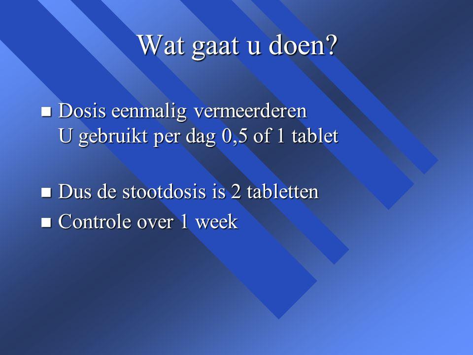 Wat gaat u doen Dosis eenmalig vermeerderen U gebruikt per dag 0,5 of 1 tablet. Dus de stootdosis is 2 tabletten.