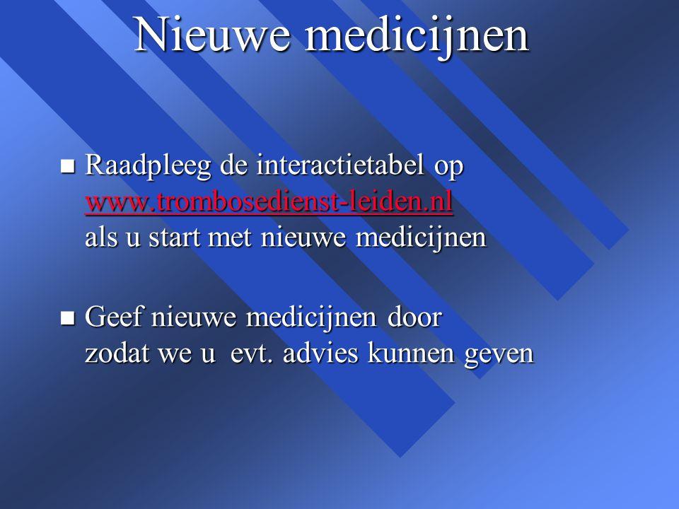 Nieuwe medicijnen Raadpleeg de interactietabel op www.trombosedienst-leiden.nl als u start met nieuwe medicijnen.