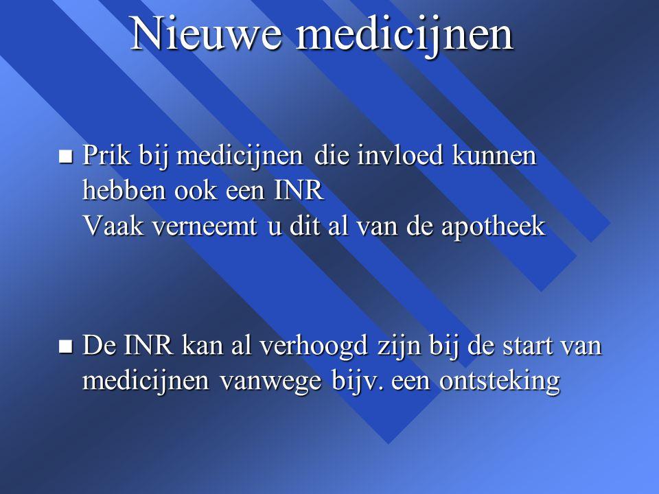 Nieuwe medicijnen Prik bij medicijnen die invloed kunnen hebben ook een INR Vaak verneemt u dit al van de apotheek.