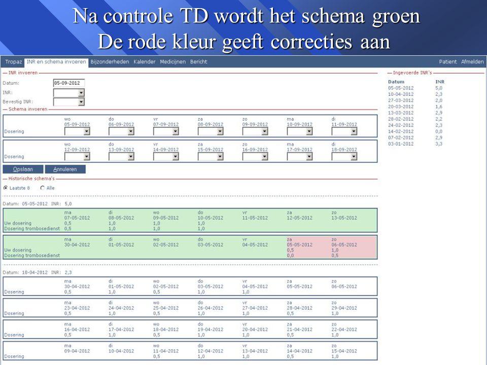 Na controle TD wordt het schema groen De rode kleur geeft correcties aan