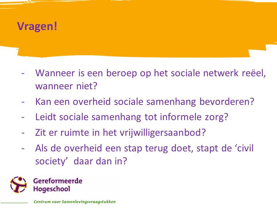 Vragen! Wanneer is een beroep op het sociale netwerk reëel, wanneer niet Kan een overheid sociale samenhang bevorderen