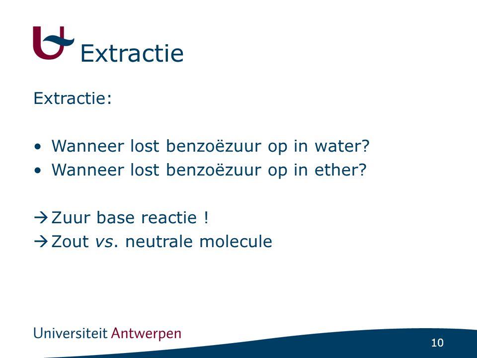 Extractie Extractie: Wanneer lost benzoëzuur op in water