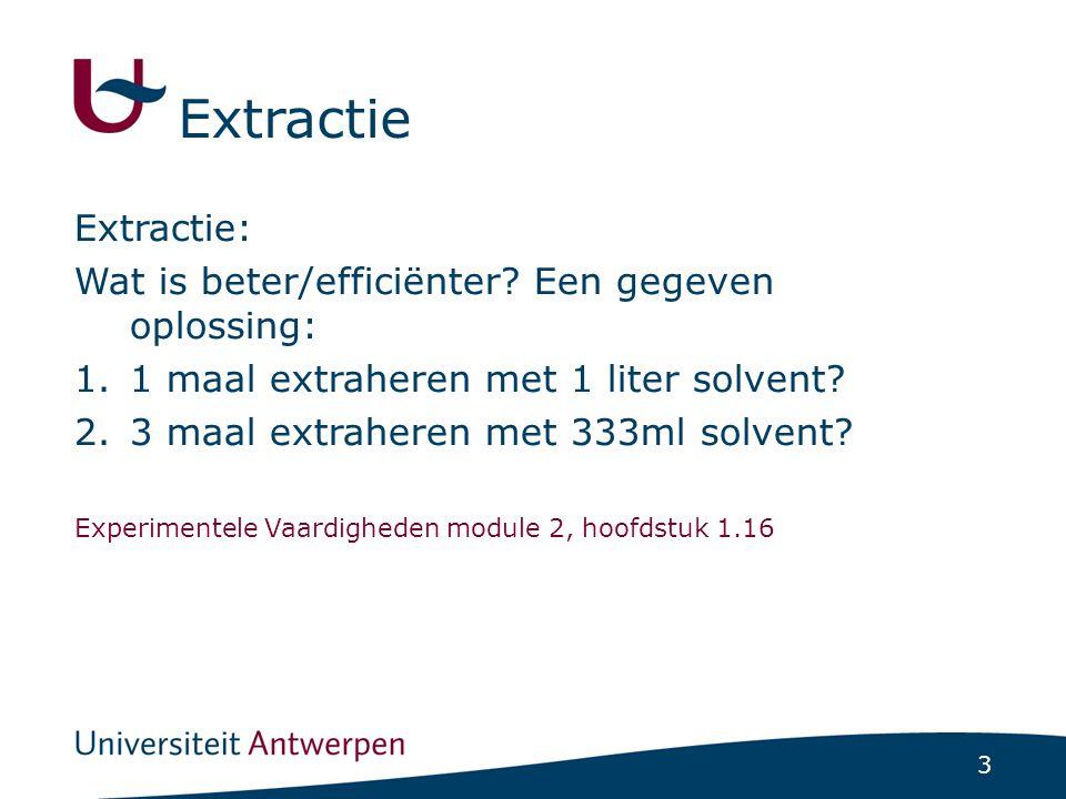 Extractie Extractie: Wat is beter/efficiënter Een gegeven oplossing: