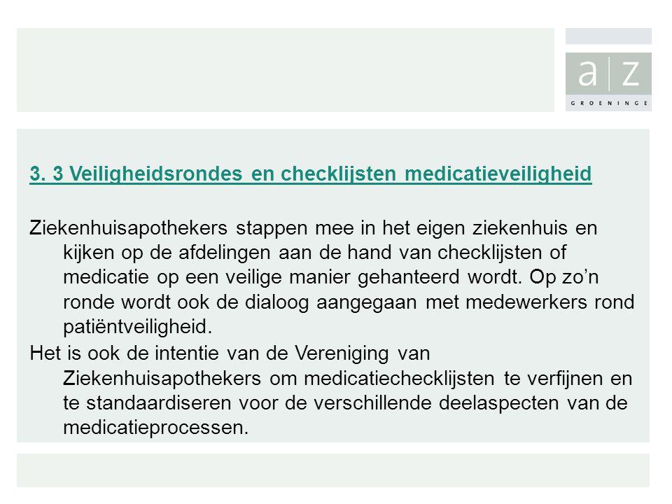 3. 3 Veiligheidsrondes en checklijsten medicatieveiligheid