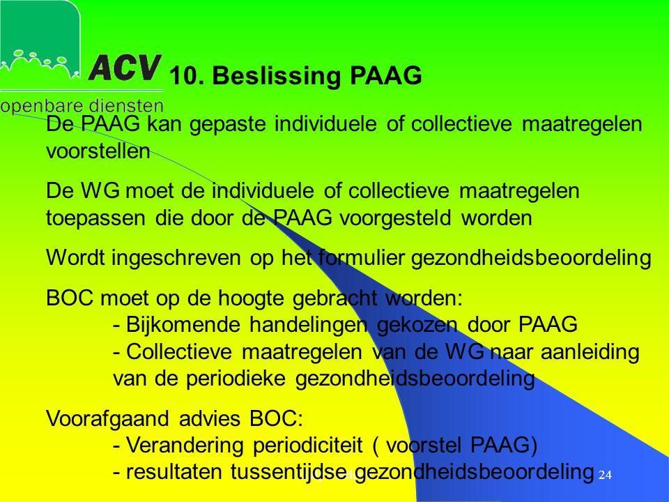 10. Beslissing PAAG De PAAG kan gepaste individuele of collectieve maatregelen voorstellen.