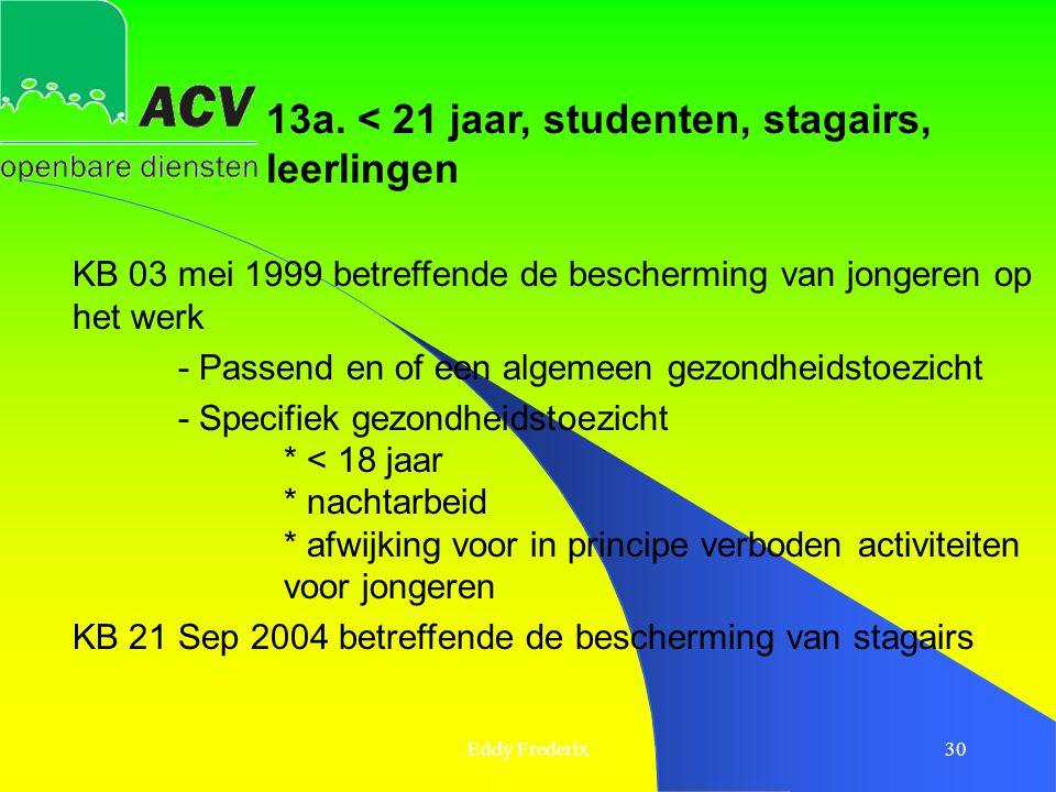 13a. < 21 jaar, studenten, stagairs, leerlingen