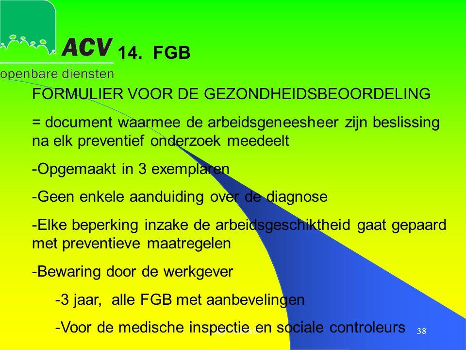 14. FGB FORMULIER VOOR DE GEZONDHEIDSBEOORDELING