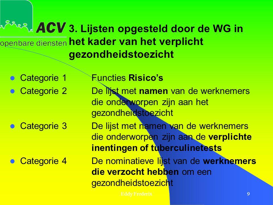 3. Lijsten opgesteld door de WG in het kader van het verplicht