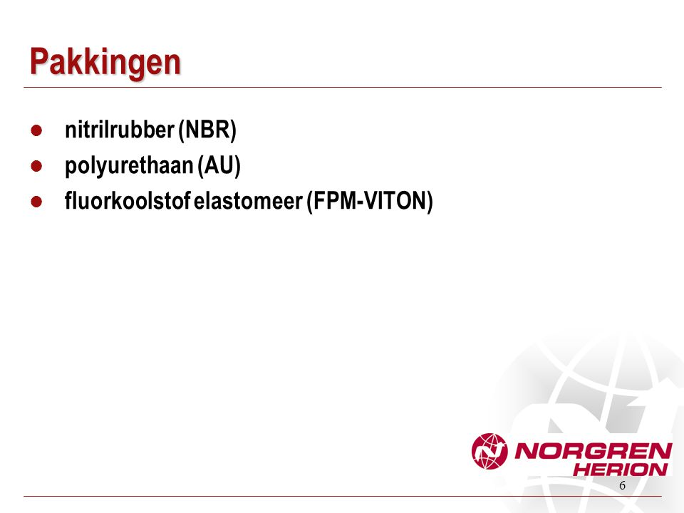 Pakkingen nitrilrubber (NBR) polyurethaan (AU)