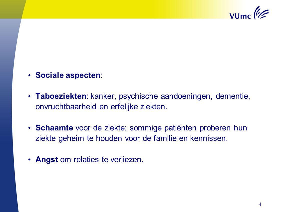 Sociale aspecten: Taboeziekten: kanker, psychische aandoeningen, dementie, onvruchtbaarheid en erfelijke ziekten.