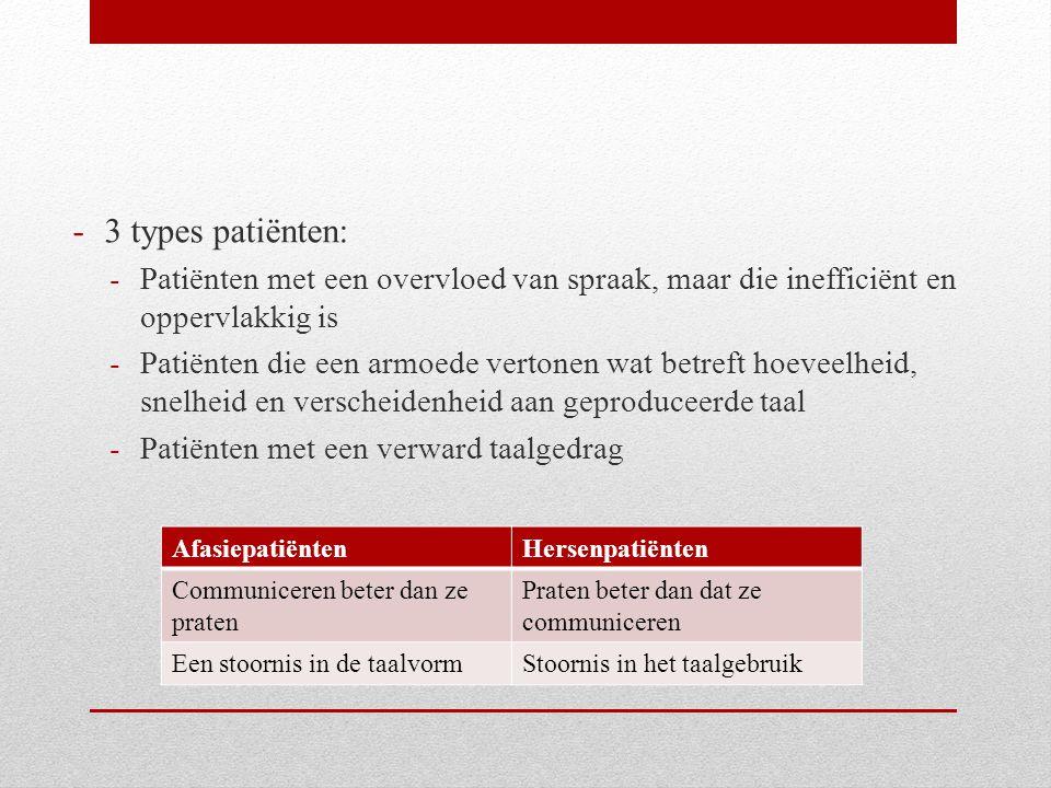 3 types patiënten: Patiënten met een overvloed van spraak, maar die inefficiënt en oppervlakkig is.