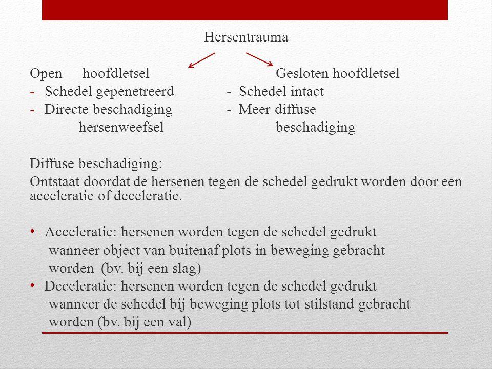 Hersentrauma Open hoofdletsel Gesloten hoofdletsel. Schedel gepenetreerd - Schedel intact. Directe beschadiging - Meer diffuse.