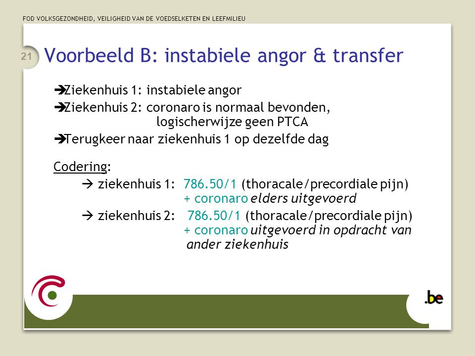 Voorbeeld B: instabiele angor & transfer