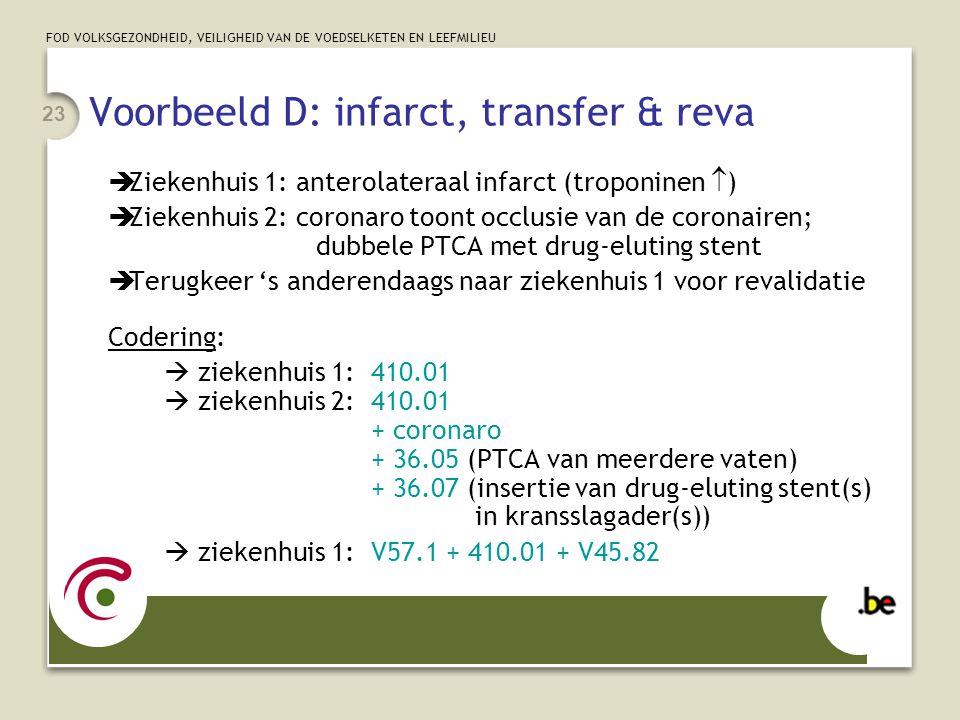 Voorbeeld D: infarct, transfer & reva