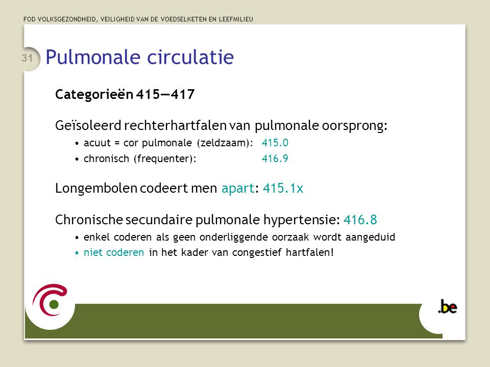 Pulmonale circulatie Categorieën 415—417