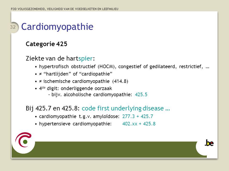 Cardiomyopathie Categorie 425 Ziekte van de hartspier: