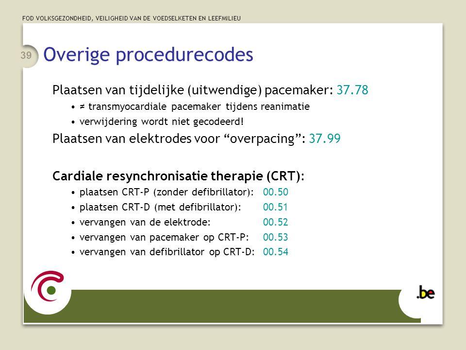 Overige procedurecodes