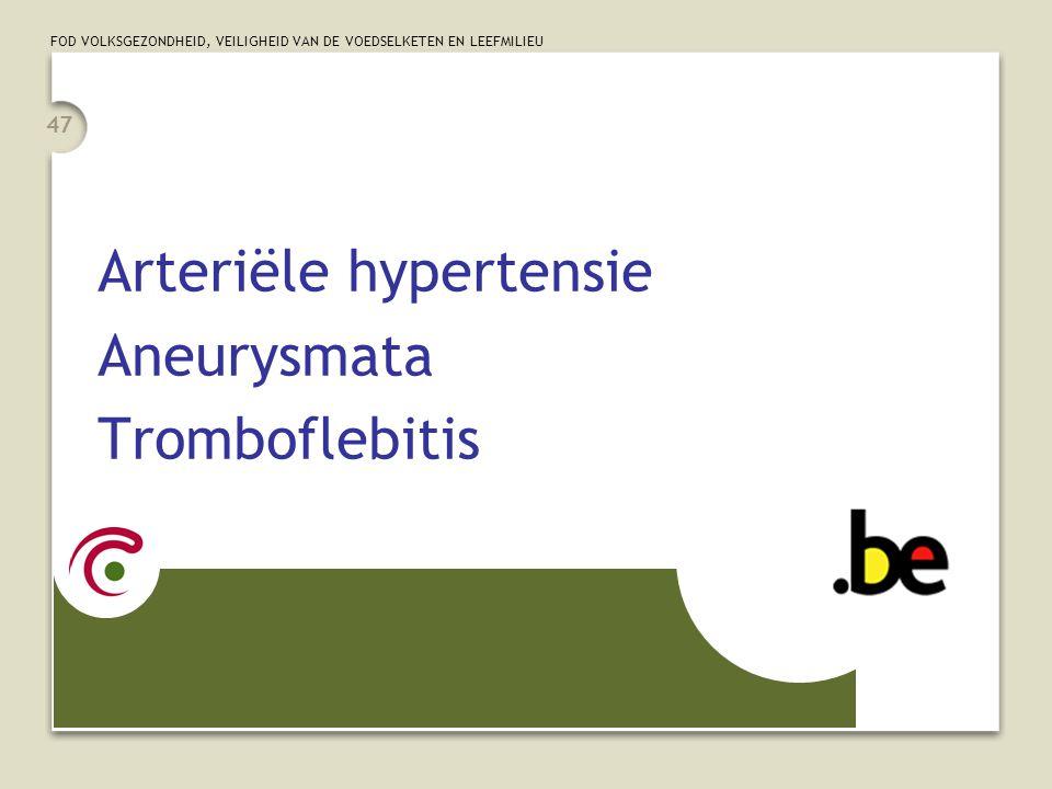 Arteriële hypertensie Aneurysmata Tromboflebitis