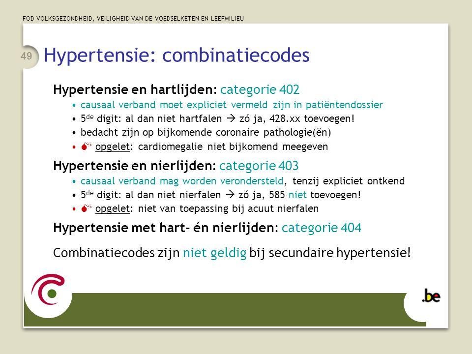 Hypertensie: combinatiecodes