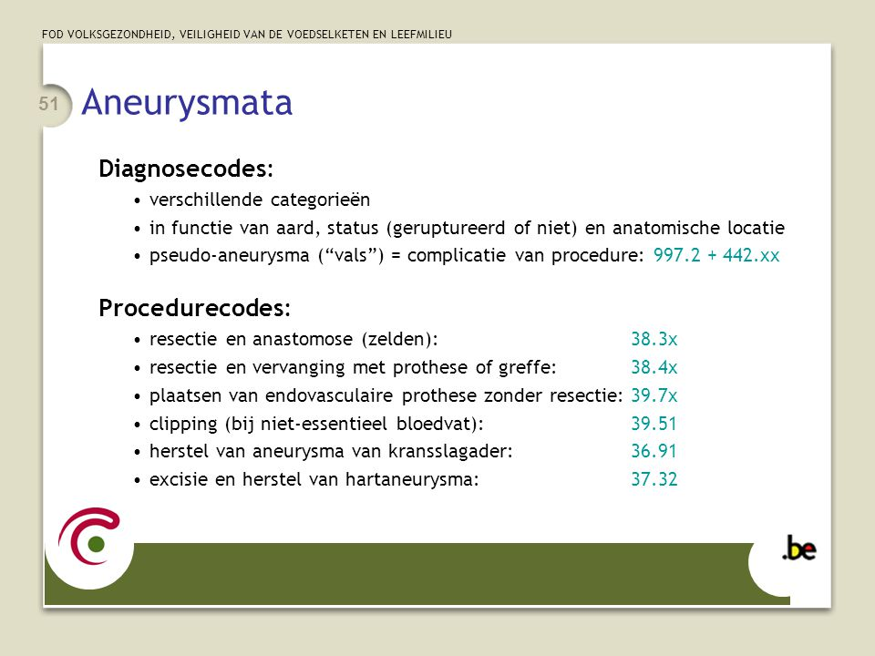 Aneurysmata Diagnosecodes: Procedurecodes: verschillende categorieën
