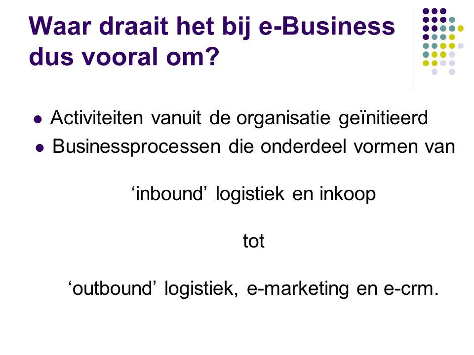 Waar draait het bij e-Business dus vooral om