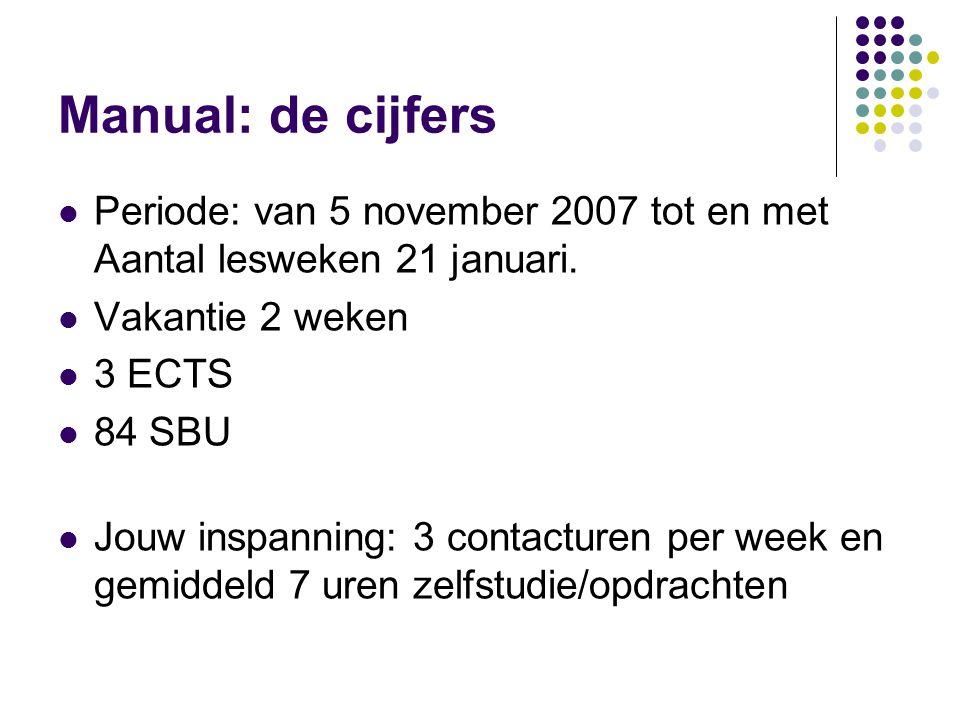 Manual: de cijfers Periode: van 5 november 2007 tot en met Aantal lesweken 21 januari. Vakantie 2 weken.