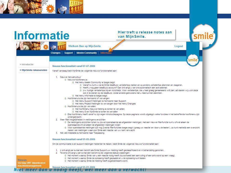 Informatie Hier treft u release notes aan van MijnSmile.
