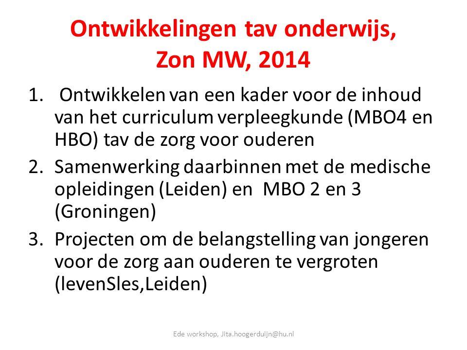 Ontwikkelingen tav onderwijs, Zon MW, 2014