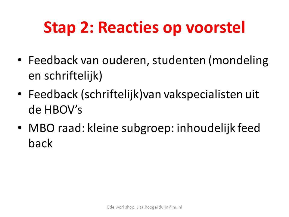 Stap 2: Reacties op voorstel