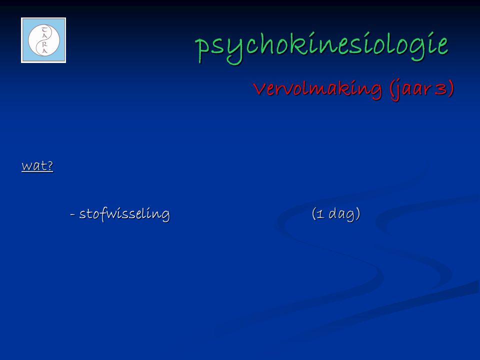 psychokinesiologie Vervolmaking (jaar 3) wat - stofwisseling (1 dag)