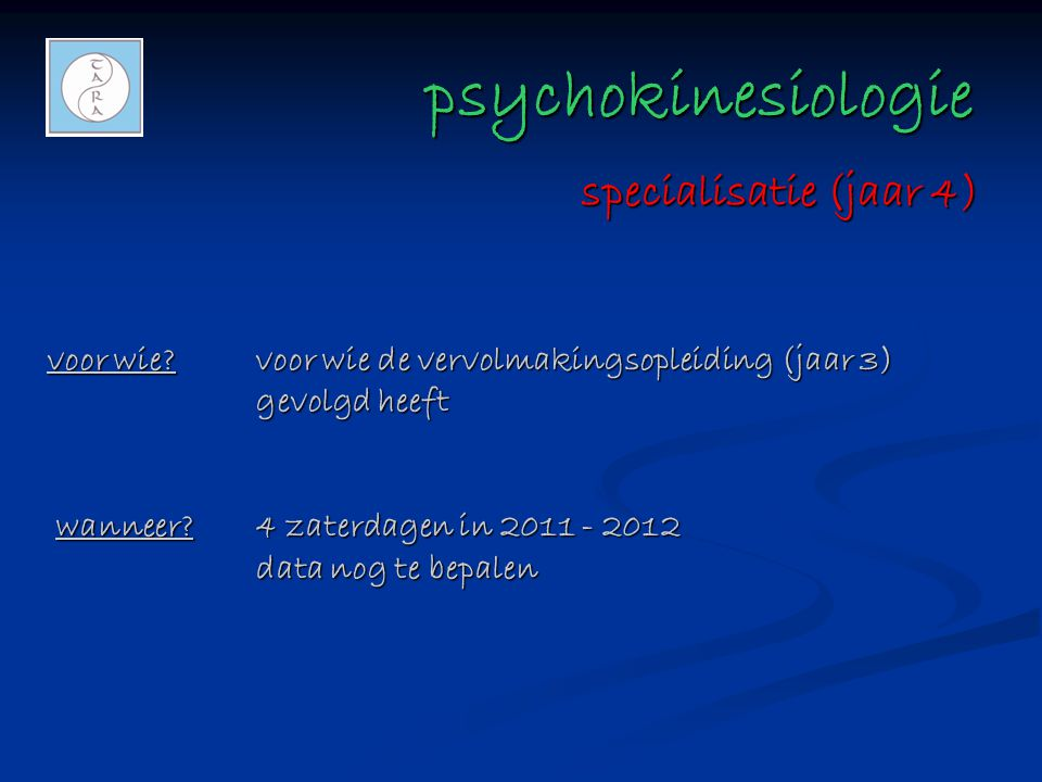 psychokinesiologie specialisatie (jaar 4)