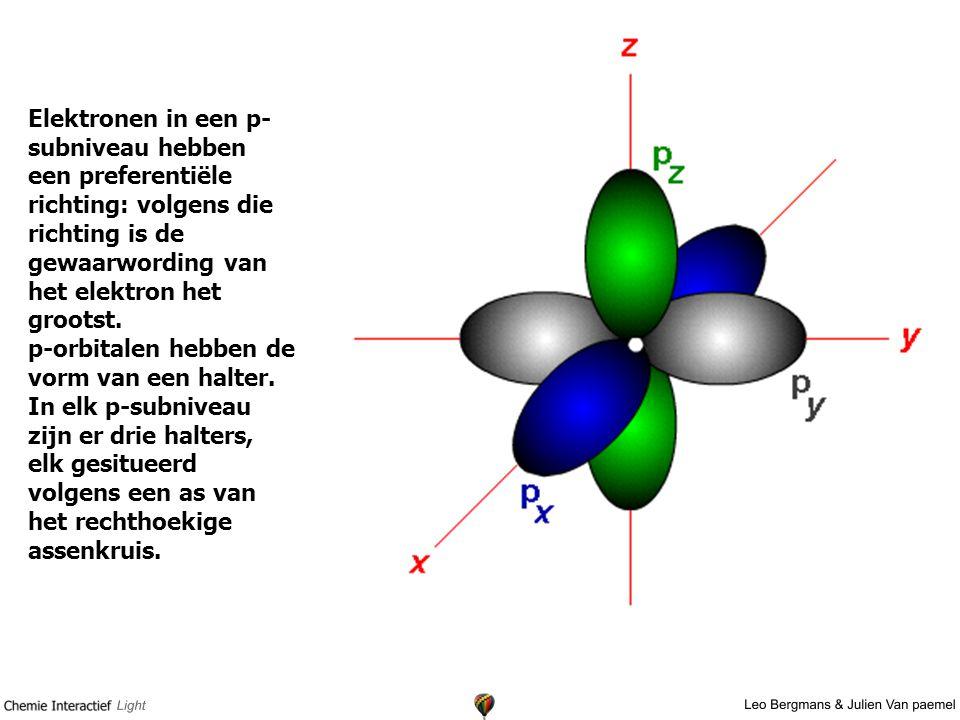Elektronen in een p-subniveau hebben een preferentiële richting: volgens die richting is de gewaarwording van het elektron het grootst. p-orbitalen hebben de vorm van een halter.