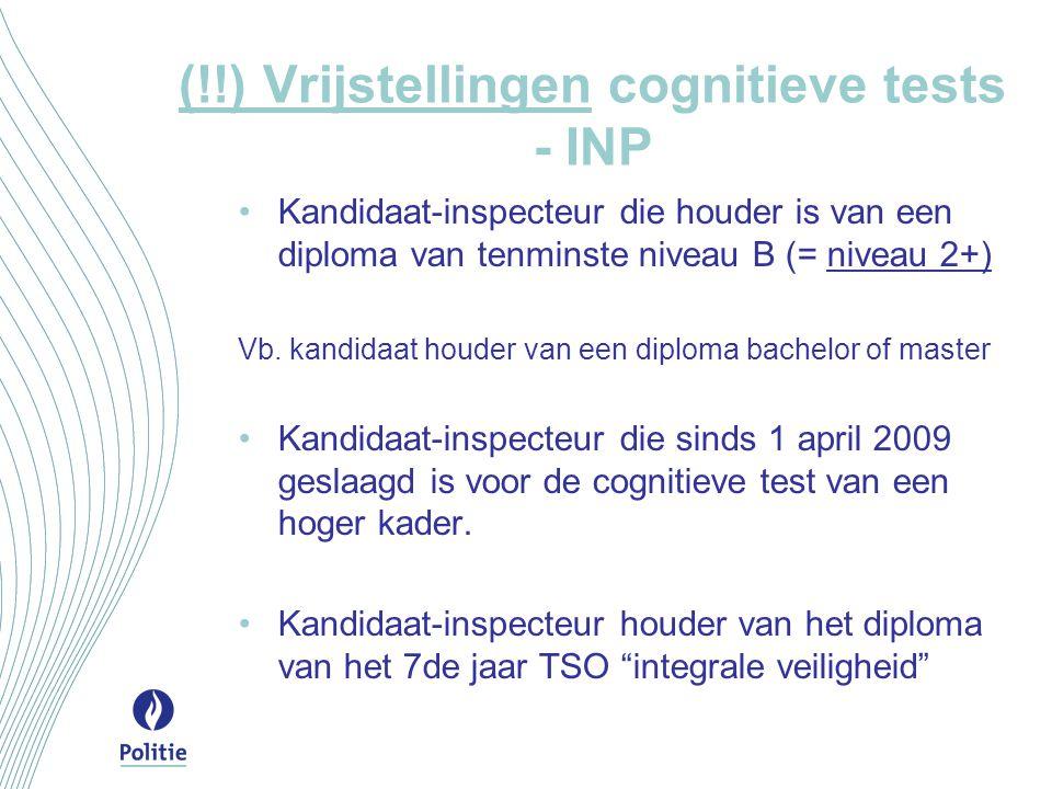 (!!) Vrijstellingen cognitieve tests - INP
