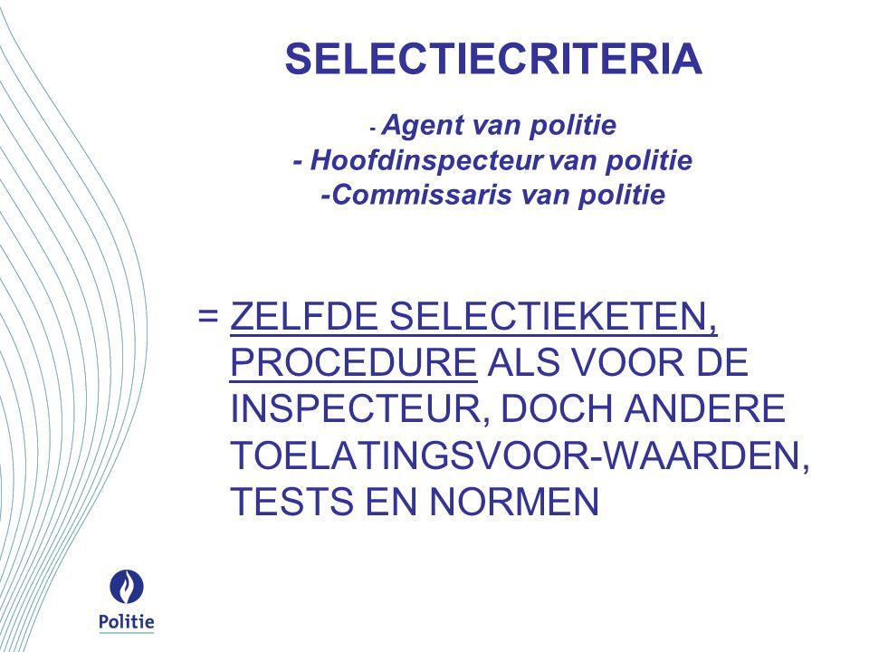 SELECTIECRITERIA - Agent van politie - Hoofdinspecteur van politie -Commissaris van politie