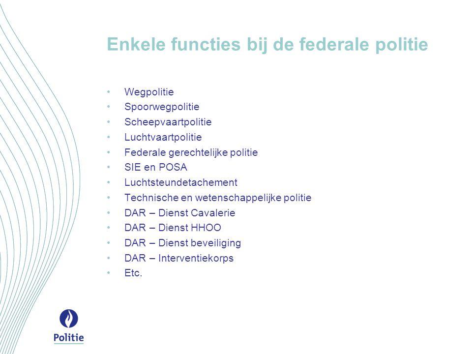 Enkele functies bij de federale politie