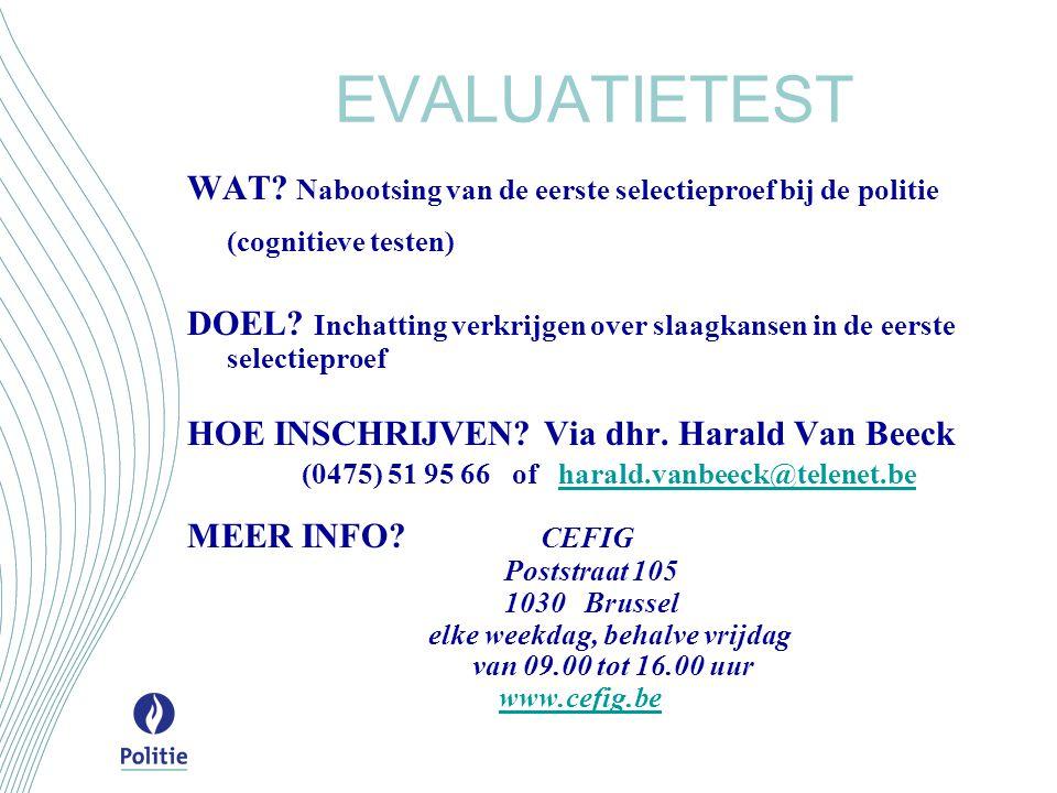 EVALUATIETEST WAT Nabootsing van de eerste selectieproef bij de politie (cognitieve testen)