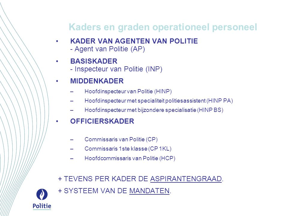 Kaders en graden operationeel personeel