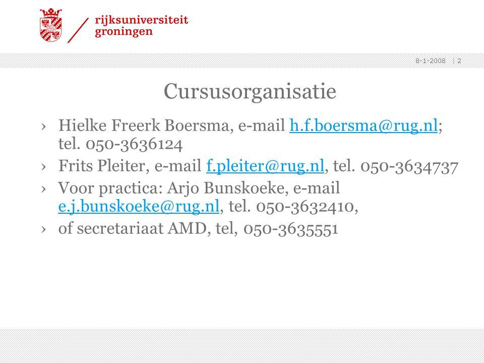 Cursusorganisatie Hielke Freerk Boersma, e-mail h.f.boersma@rug.nl; tel. 050-3636124. Frits Pleiter, e-mail f.pleiter@rug.nl, tel. 050-3634737.